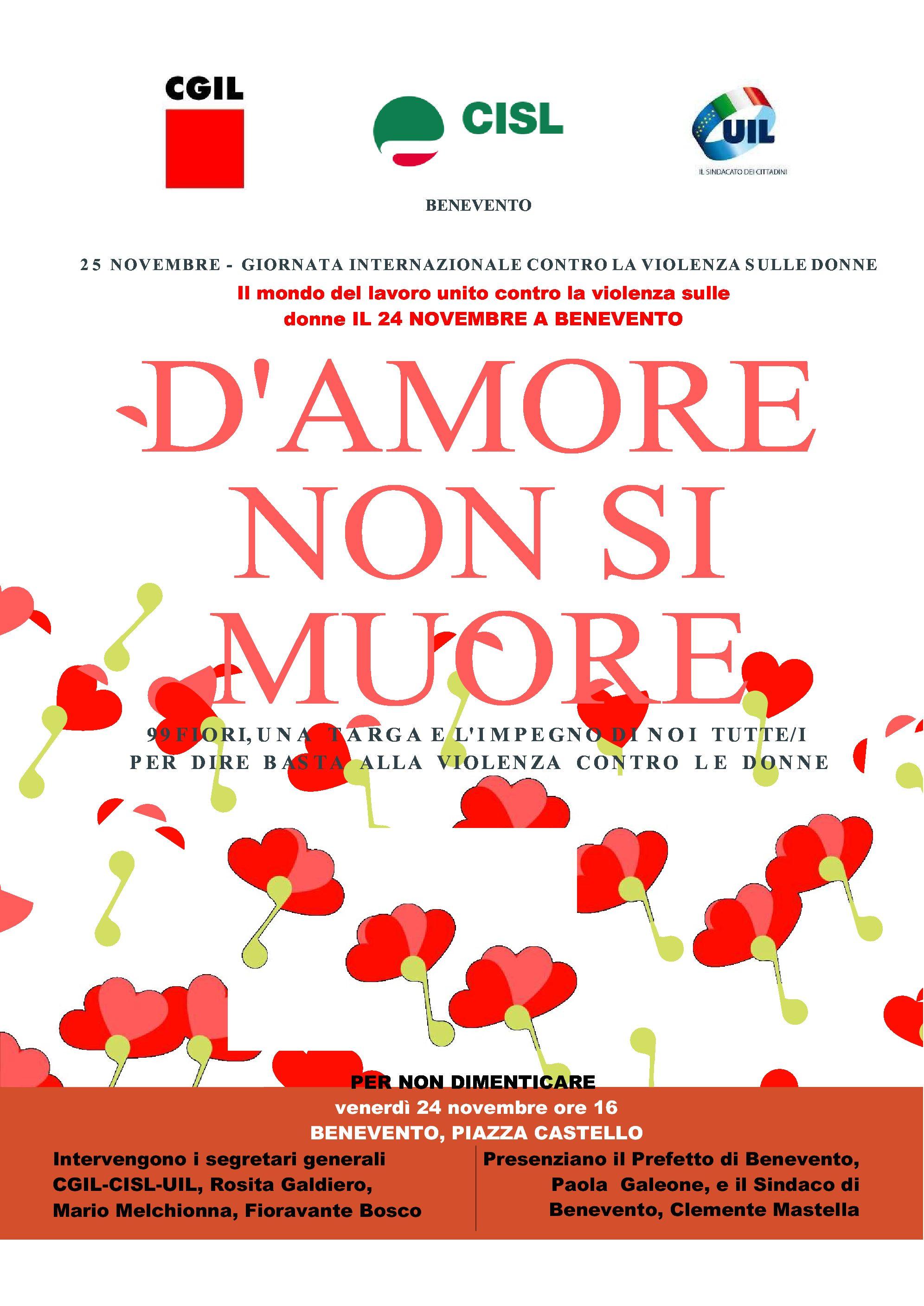 Il mondo del lavoro unito contro la violenza sulle donne il 24 novembre a Benevento Venerd¬ 24 novembre 2017 ore 16 Benevento Piazza Castello Intervengono